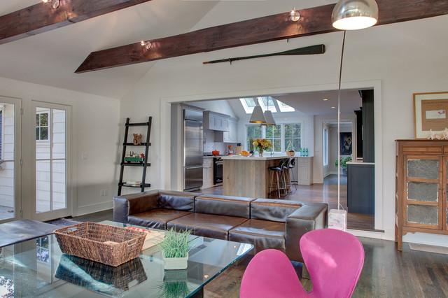 Large Minimalist Open Concept Dark Wood Floor Family Room Photo In  Bridgeport With White Walls, Part 34