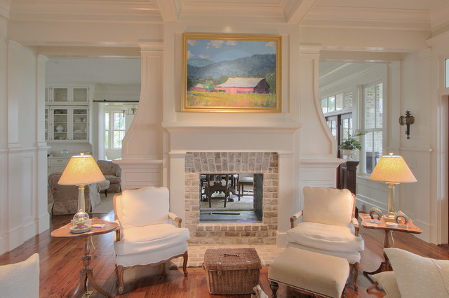 Old oyster retreat traditional living room for Ramsey fireplace