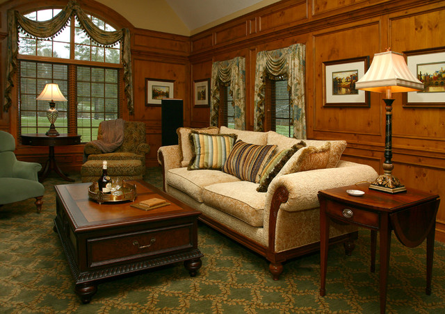 Old World Library Traditional, Old Style Living Rooms