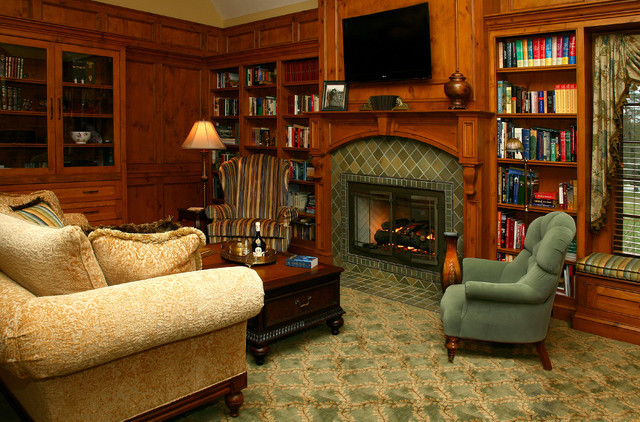 Old world library traditional living room other by for Decorating den interiors