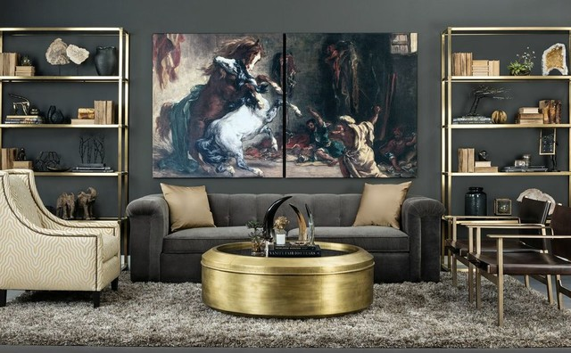 Old World Meet Art Deco Townhouse Sofa Traditional