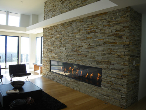 Stone veneer fireplace love them hate them indifferent - Large contemporary stone fireplace ...