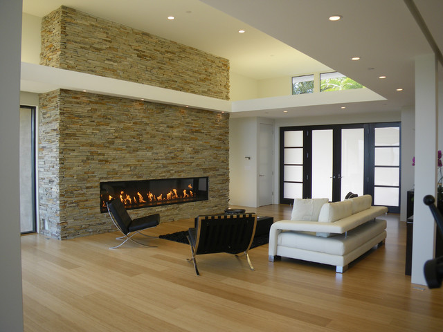 Inspiration for a modern living room in San Francisco with a ribbon fireplace, a stone fireplace surround and bamboo flooring.