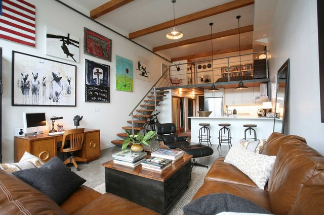 Oliver Simon Design Loft Project Industrial Living Room Vancouver By Antique Market