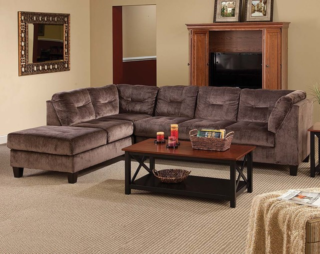 Olympian Chocolate 2 Piece Sectional Sofa Modern Living Room Columbus