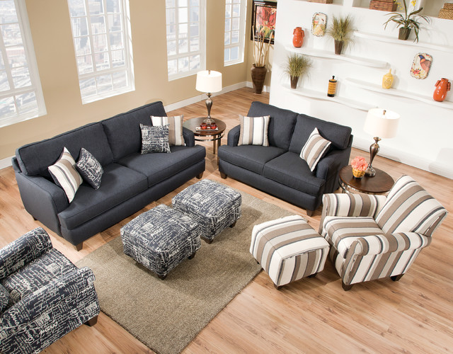 Omega Denim Collection With Casual Flair Contemporary Living Room