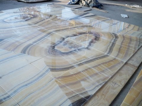 Onyx Flooring Book Matched Yellow River Modern Living Room