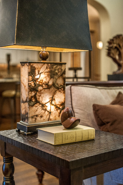 Onyx Lamp and Copper Weave Table transitional-living-room