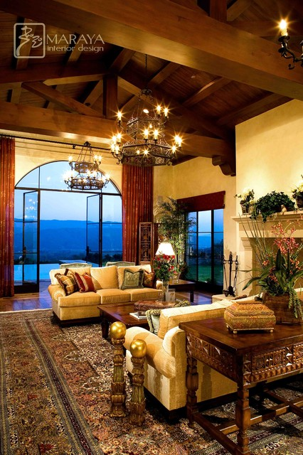 Open Beam Living Room Rustic Living Room Santa Barbara By Maraya Interior Design