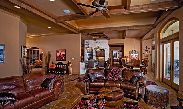 Example of a mountain style living room design in Austin