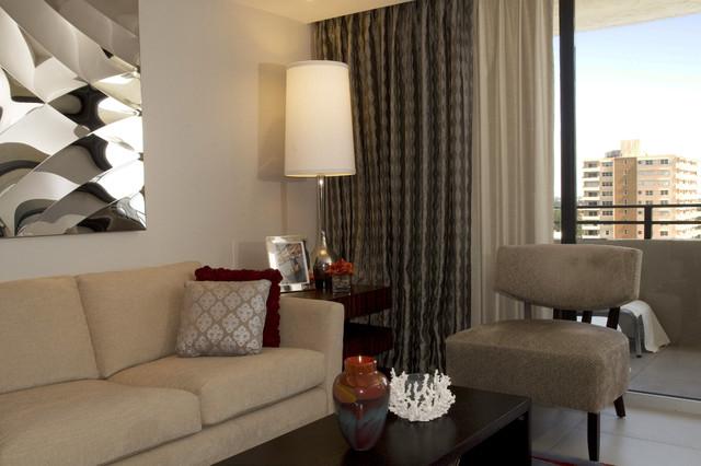 Open Concept Condo Contemporary Living Room Miami