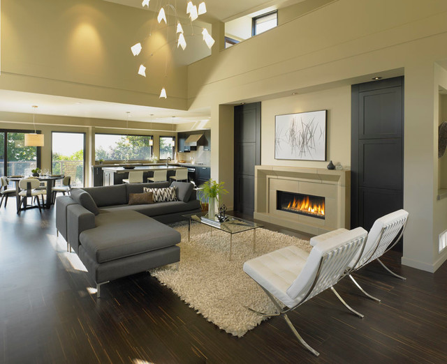 Open Concept Living Dining Modern Living Room