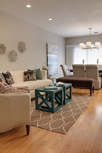 Open Concept Living Dining Transitional Living Room