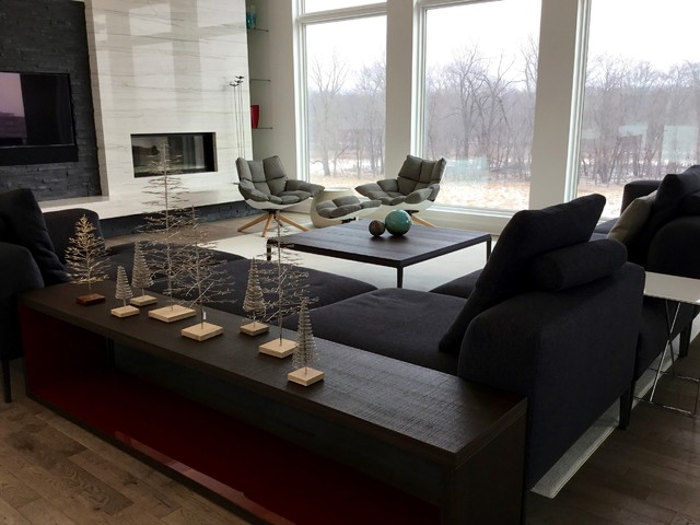 open concept living dining in johnston contemporary