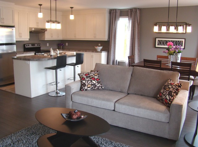 Open Concept Living Dining Kitchen, Aire Ouverte Salon Salle A Manger  CuisineContemporary Living Room, Montreal