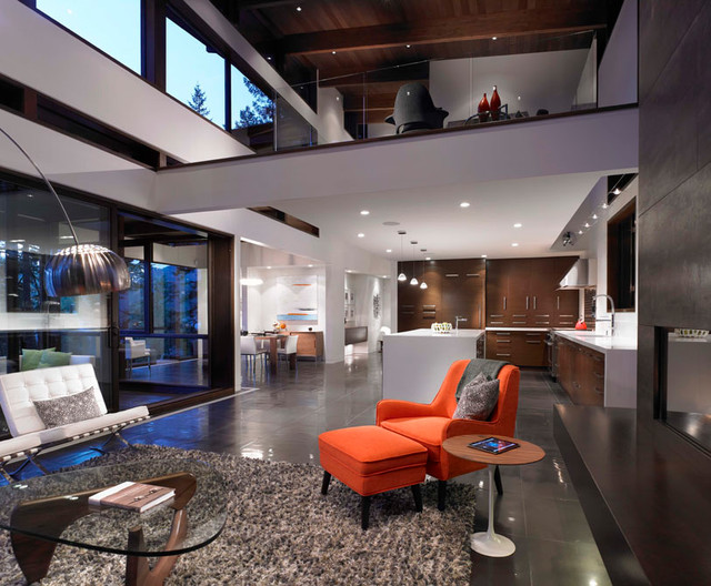 Open Concept Living Dining Kitchen Loft Area Modern Room