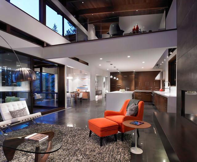 Open Concept Living Dining Kitchen Loft Area Modern