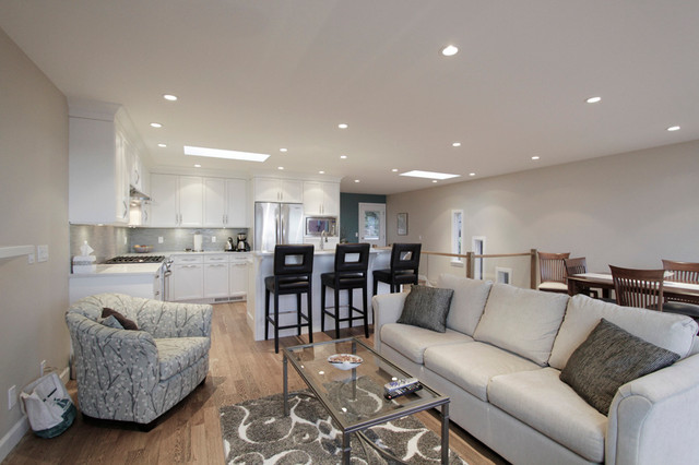 Open Concept Living Room Dining Room Kitchen Transitional Living Room Vancouver By