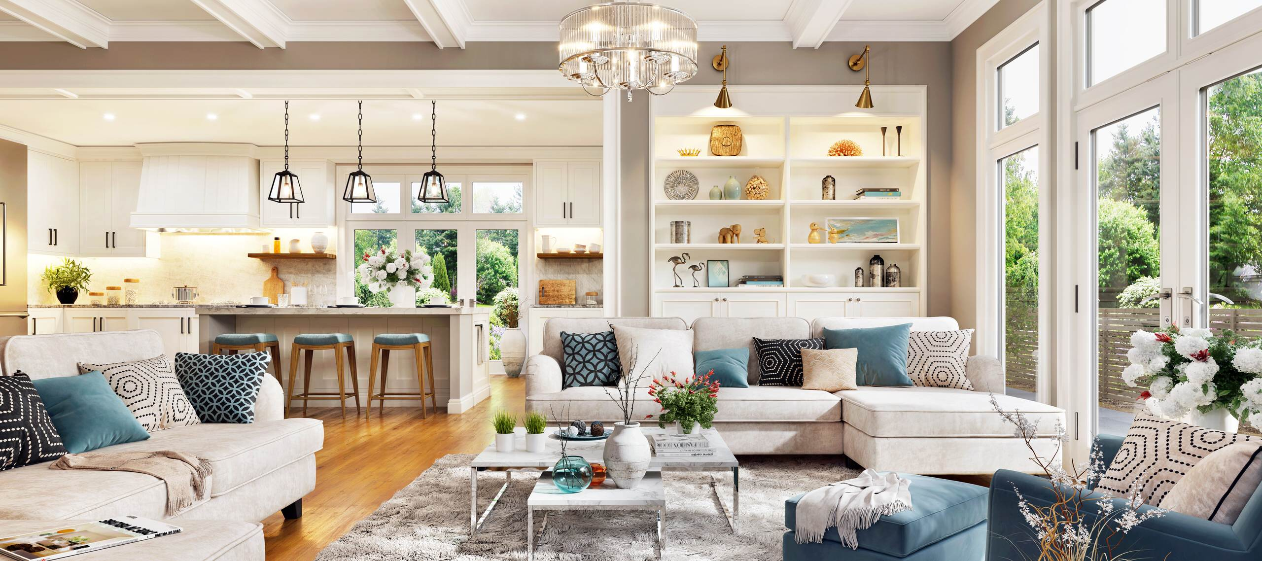 Open Concept Living room, Kitchen