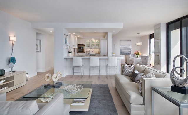 Open Concept Remodeled Condo Transitional Living Room