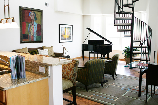 Open Concept With Spiral Staircase Traditional Living Room