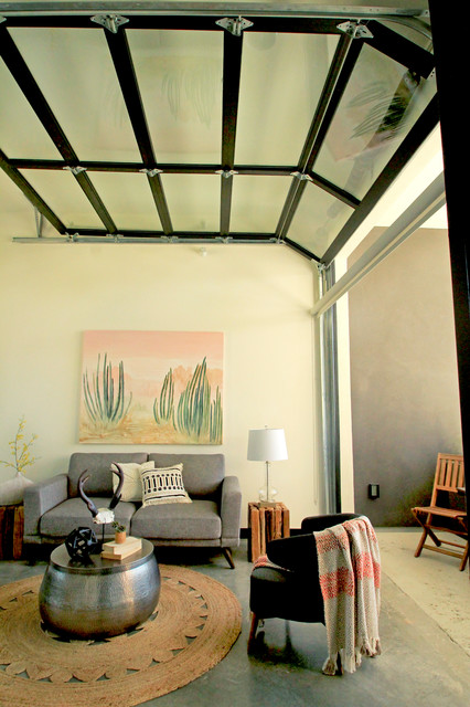 Open Living Room With Gl Overhead