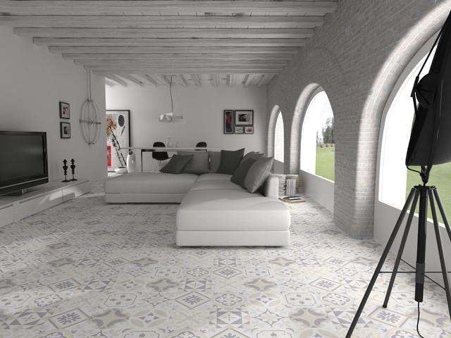 Immagine di un soggiorno mediterraneo di medie dimensioni e aperto con pareti bianche, pavimento con piastrelle in ceramica e TV autoportante