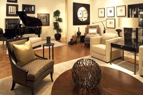 Open planned living room grand piano contemporary for Grand living room interior design