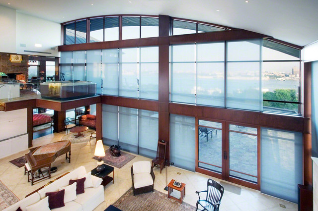 Open Room With Large Frosted Glass Windows
