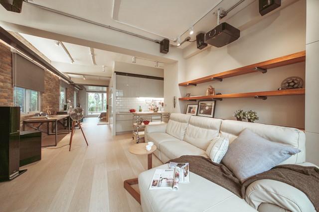 Open Studio Living industrial-living-room