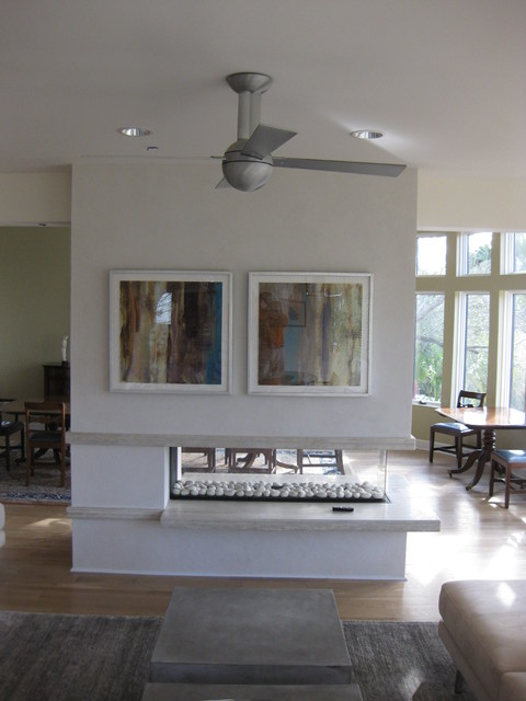 Open three sided gas fireplace with floating hearth for Open sided fireplace