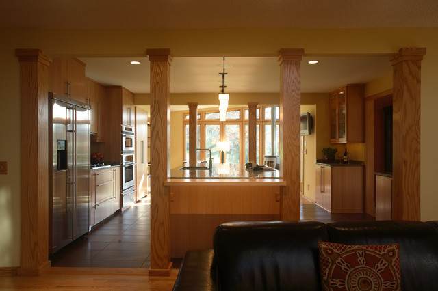 opening up the living room and kitchen - transitional - living room