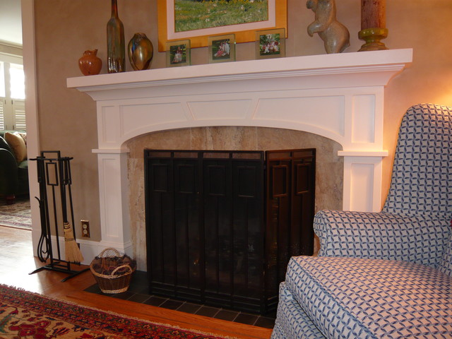 Craftsman style fireplace surround with elliptical arch for Craftsman fireplace pictures