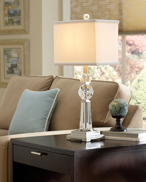 optic glass table lamp from quoizel lighting living room