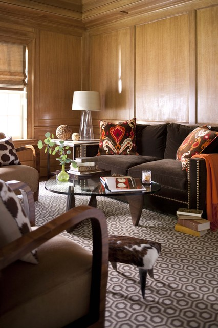 Orange and Brown Office transitional-living-room