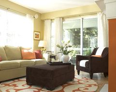 Orange and Green Living Room contemporary living room