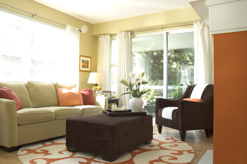 contemporary living room Color of the Month: Decorating with Orange