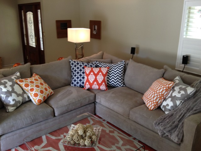 Orange And Grey Living Room Eclectic Living Room