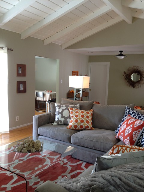 Orange and grey living room eclectic living room san for Grey and orange living room ideas