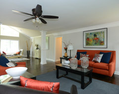 Orange Color Trend and Painting Furniture contemporary living room