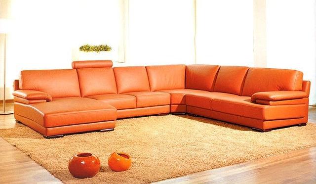 orange sectional leather sofa with chaise - Sectional Leather Sofas