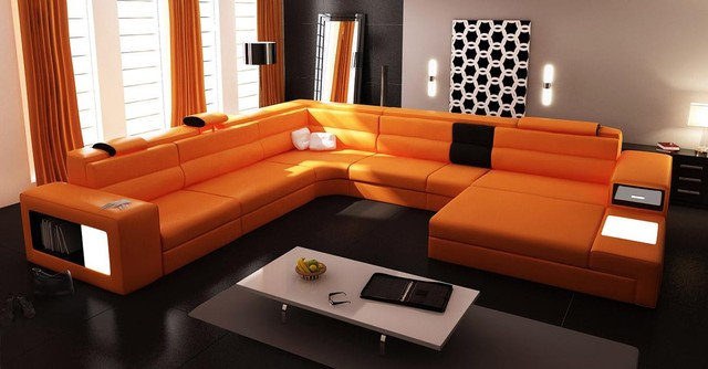 Charmant Orange Sectional Set With 2 Decorative Lights, Side Drawer ...
