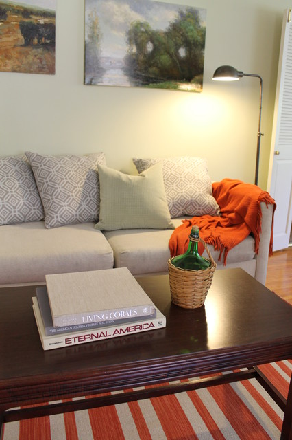 Orange Striped Dhurrie Rug Traditional Living Room Los Angeles By Madison Modern Home