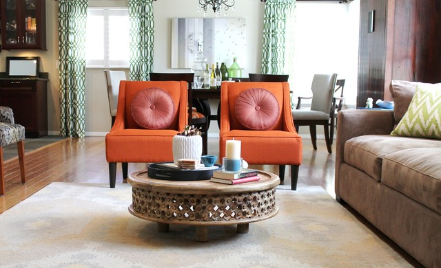 Orange Transitional Chairs And Rustic Coffee Table Traditional Living Roo