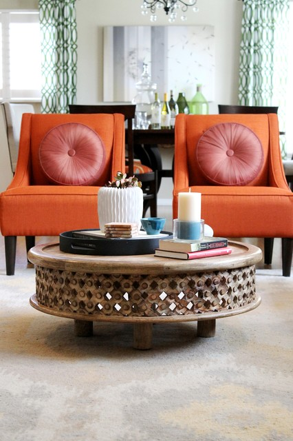Orange Transitional Chairs Traditional Living Room Los Angeles By Mad