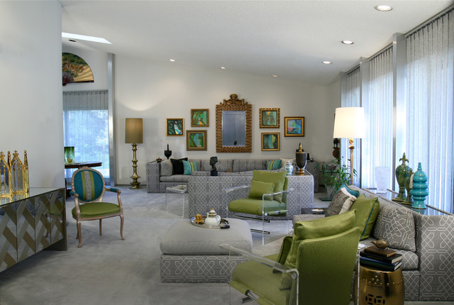 Orchard Lake, Mi Hollywood Regency Redo - Eclectic - Living Room