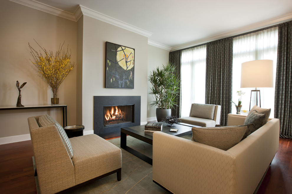 Living room - contemporary living room idea in Chicago with beige walls and no tv