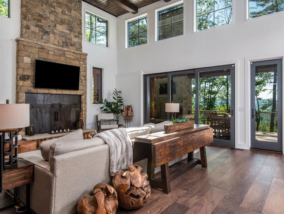 organic modern mountain home  rustic  living room