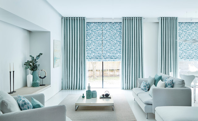 Origami Mist curtains and Honesty Mist Roman blinds from the Zen collection by H Living Room