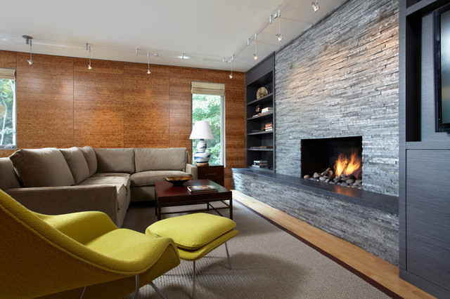 living room idea in minneapolis with a stone fireplace